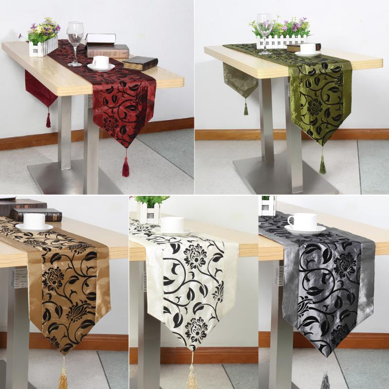 European Style Table Cloth Flower Blossom Flocking Wedding Party Tablecloth Damask Table Runner Cloth Dinner Table Flag Cover