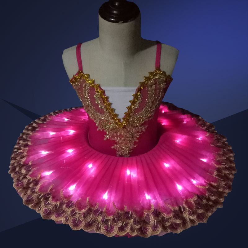 Professional LED light Tutu Kids Ballet Costume Ballerina Dress Kids Halloween Stage Children Party Dress Costume