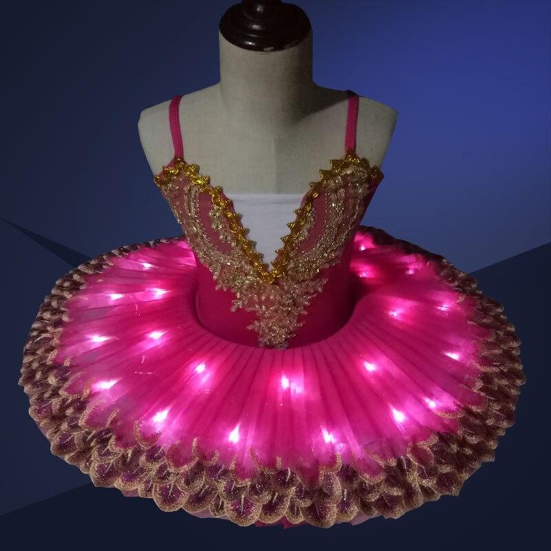 Professional LED light Tutu Kids Ballet Costume Ballerina Dress Kids Halloween Stage Children Party Dress Costume Outfit オフショル 水着 花 柄