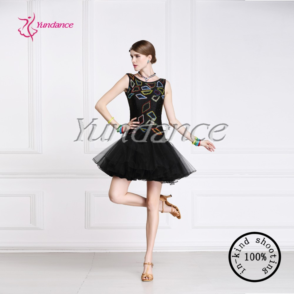 Sequin Black Latin Performance Costumes China L-13337