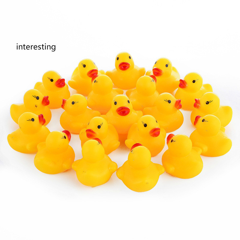 AC0200015 20 Pcs lot Kawaii Baby Floating Squeaky Rubber Ducks Kids Bath Toys for Children