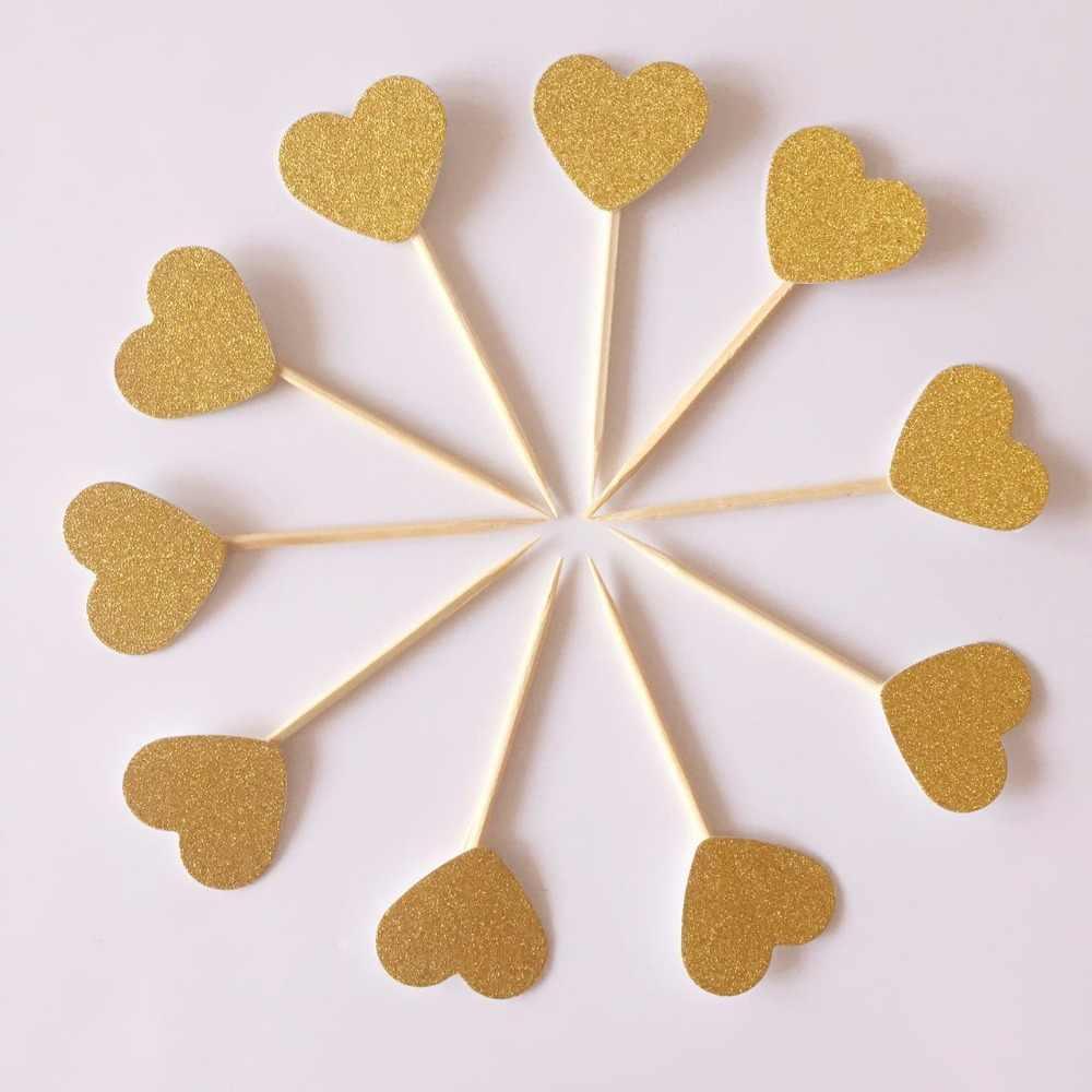 10 ピース/ロットグリッターハートケーキトッパーマルチ色愛フラグスティック結婚式誕生日パーティーケーキベーキング用品