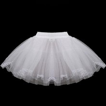 2019 White Short Girls Wedding Petticoats Three Layers Lace Edge Tulle Boneless Petticoat Simple Mini Underskirts For Children