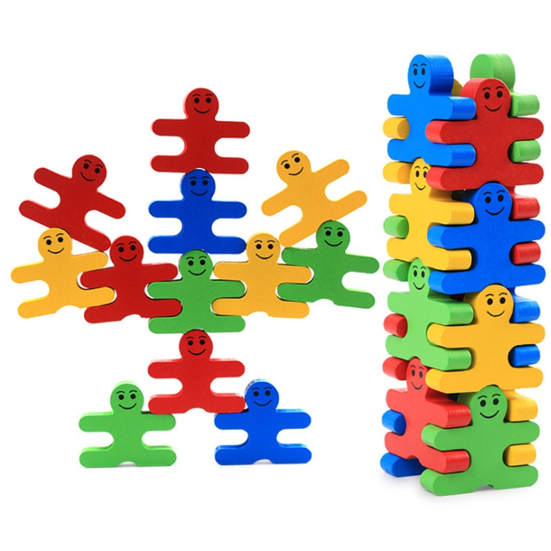 Blocks Balance Game Baby Wooden Toys Building Block Early Educational Brick Toys rainbow tower blocks assembling demolition christmas wooden promotional toys baby family stacking stack game educational block