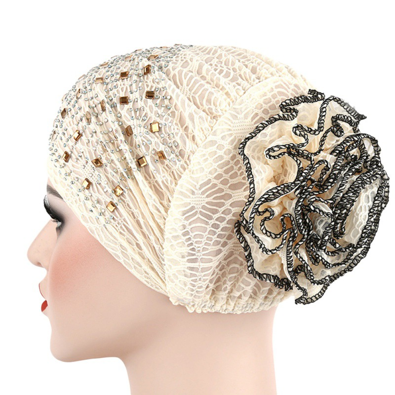 11colors Available Hijab Band Muslim Bonnet Hijab Scarf Hat Lace Hats Under Bonnets Cap Women's Rhinestone