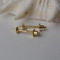 18 K Oro Della Vite Earstud con Earnut Perlina Cap per Due Orecchini di Perle, giallo Karat Solido 18ct oro Risultati