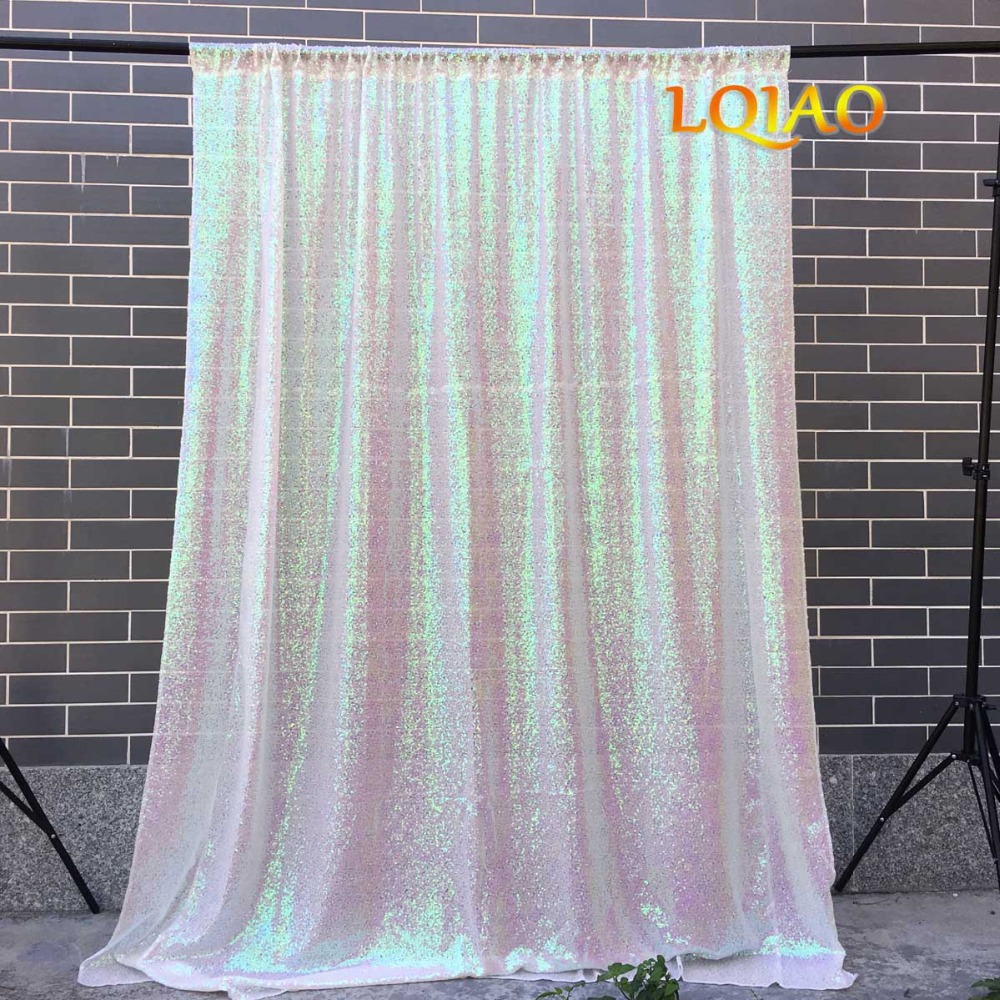 Sequin Curtain Backdrop 2 Panels 4x7ft Sparkly Iridescent White Sequin Curtain Backdrop Background Christmas Wedding Decoration-in Party Backdrops from Home & Garden    2