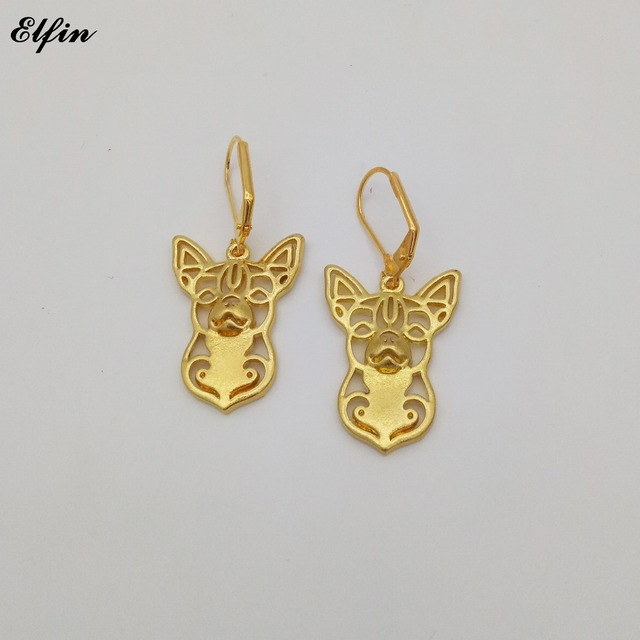 Elfin Whole New Trendy Chihuahua Earings Fashion Jewelry Gold Color Silver Dog Earrings For