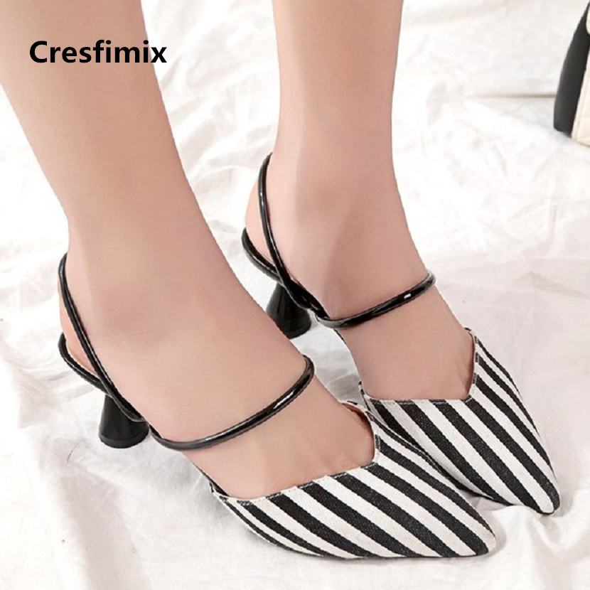 Cresfimix sandalias de mujer women fashion 2018 new high heel sandals lady comfortable spring & summer blue stripe sandals a787 cresfimix sandalias de mujer women fashion black beach flat sandals lady cute solid comfortable plus size sandals with crystal