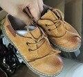 2016 nova primavera crianças sapatos pretos crianças genuíno sapatos de couro meninas sapatos de marca menino moda apartamentos sapato criança sandálias lepoard