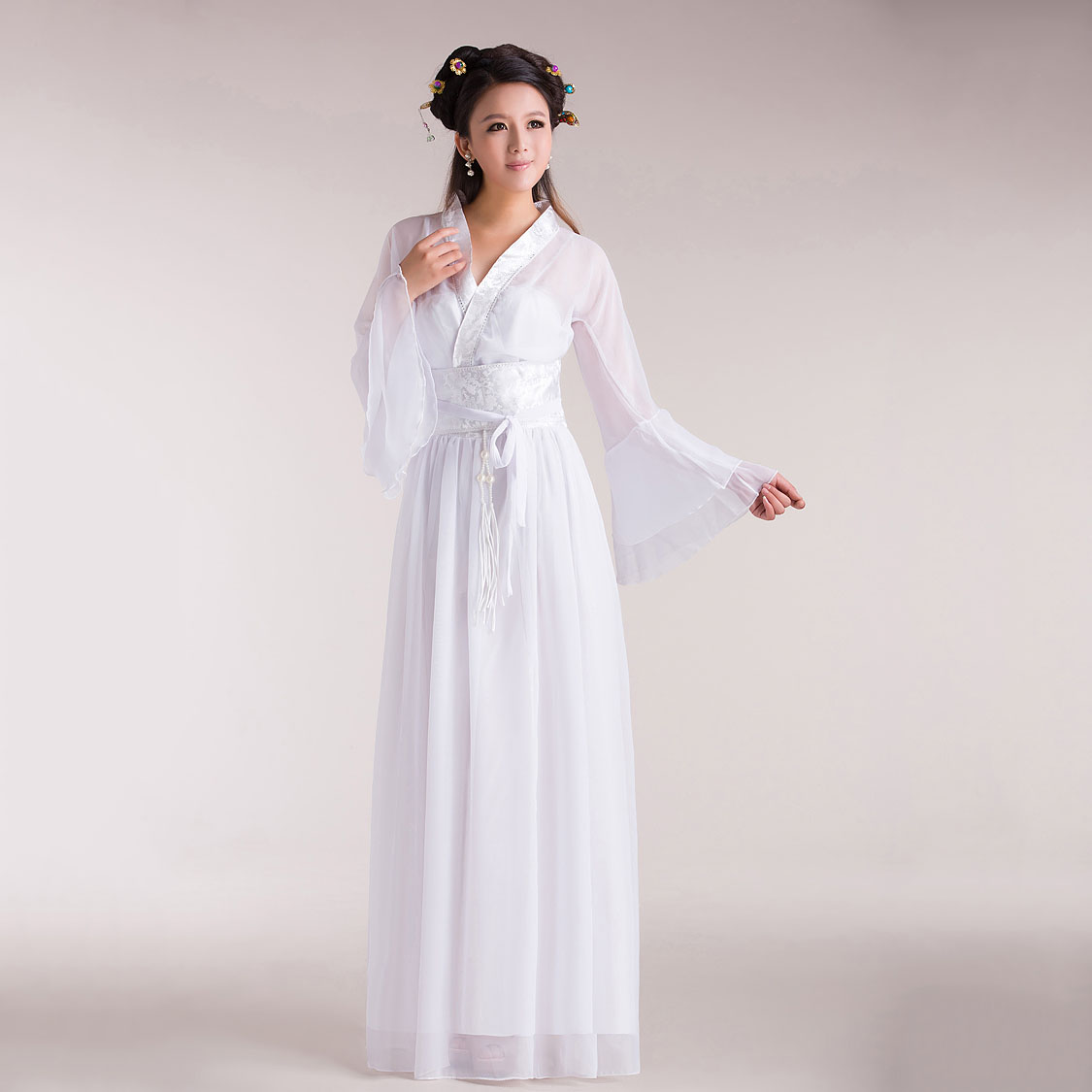 Women's Adult Ethnic Classical Dance Costumes Chinese Style Elegant White/Red Costume Performance Hanfu Clothing For Girls