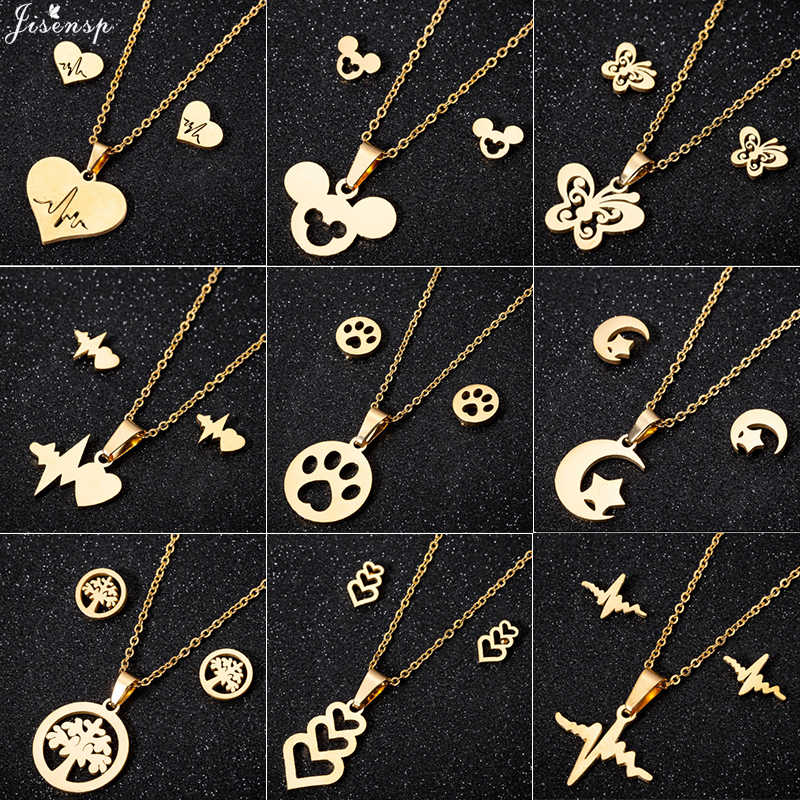 Jisensp Fashion Butterfly Mickey Jewelry Necklace for Women Girls Stainless Steel Cute Heartbeat Necklaces Pendants Accessories