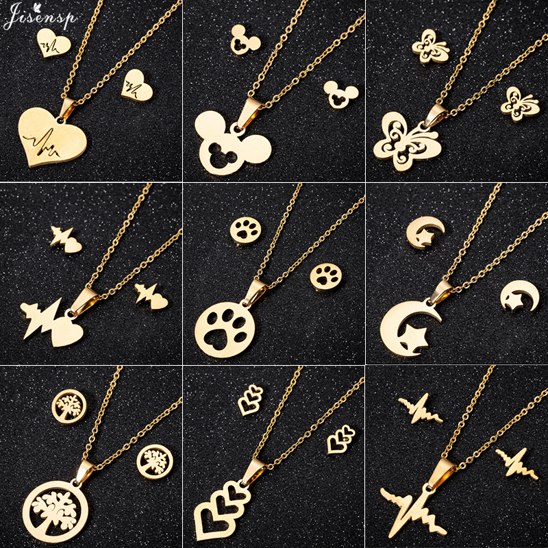 Jisensp Fashion Butterfly Mickey Jewelry Necklace for Women Girls Stainless Steel Cute Heartbeat Necklaces Pendants Accessories(China)