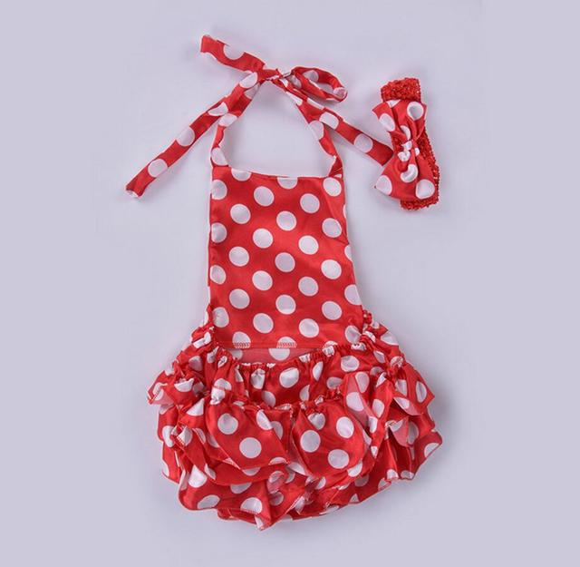 cd5b978c1190 2PC Baby Girl Satin Polka Dots Wine Red Ruffle Romper Summer Cool ...