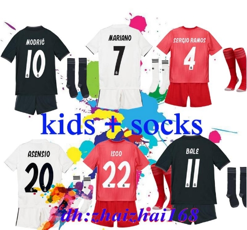 2019 Kids Kit Real Madrid Football Jersey 201819 Home White Away Boy Soccer Jerseys ISCO ASENSIO BALE KROOS Child 3rd red Soccer(China)