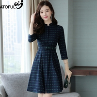 ATOGUL Elegant Vintage Plaid Dot Belted Dress Women Wear To Work Office Casual Party A Line