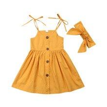 Летние Детские комплекты одежды для маленьких девочек однотонное платье принцессы из 2 предметов, на бретельках, со шнуровкой, на пуговицах повязка на голову с бантом, Детская Хлопковая одежда для девочек 1-6Y