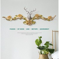 American Style Deer Bird Decorative Key Hook, Wall Hanging Resin Crafts, Wall Decoration Hanger Wall Decoration R1262