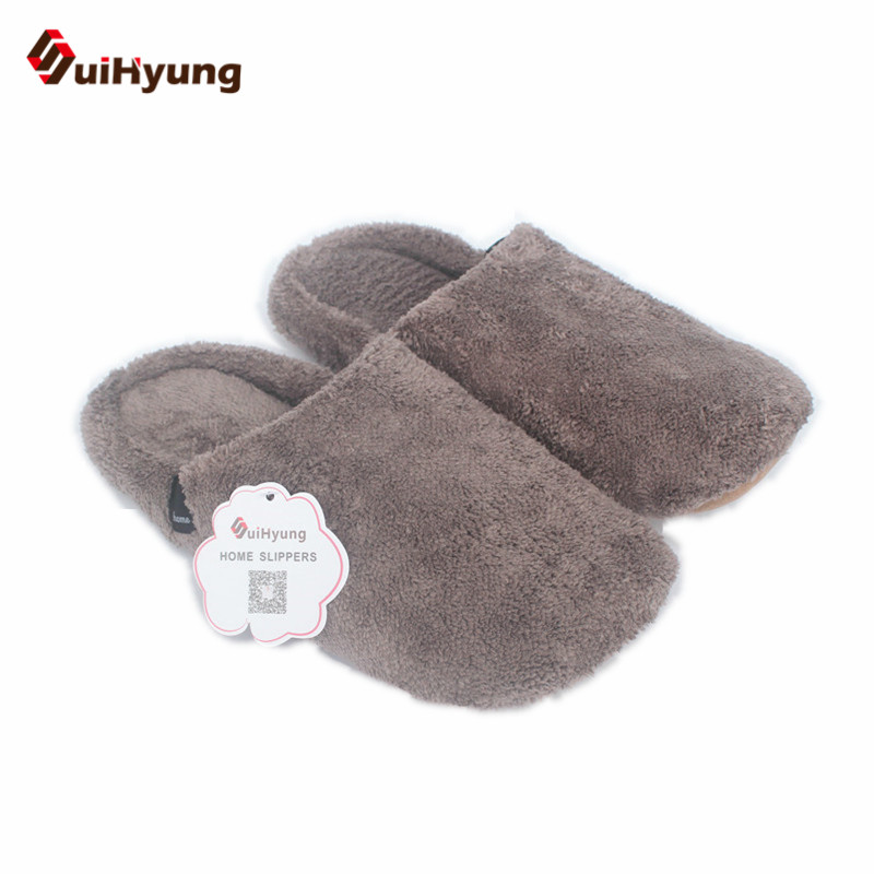 Suihyung 4 Colors Winter Warm Home Slippers Non-slip Soft Sole Floor Flat Shoes Plush Indoor Shoes Men Women Cotton Slippers new winter soft plush cotton cute slippers shoes non slip floor indoor house home furry slippers women shoes for bedroom z131