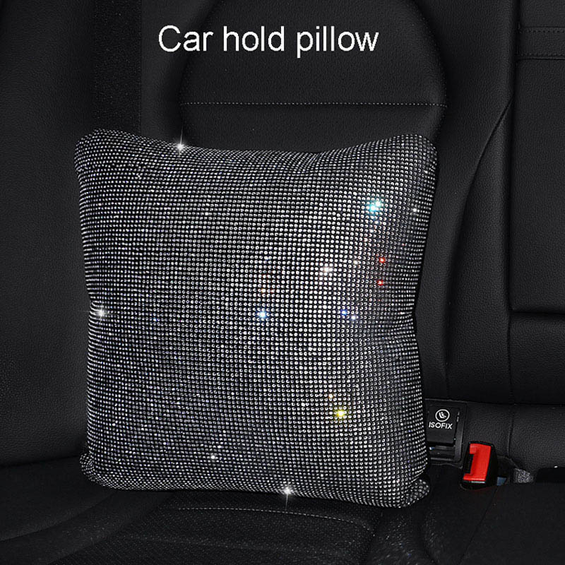 Rhinestones-Crystal-Car-Seat-belt-cover-pad-Neck-pillow-Waist-Support-5
