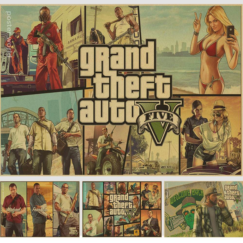 Game gta 5 Michael retro Poster Print wall decor retro Poster World of Tanks vintage prints classic gift