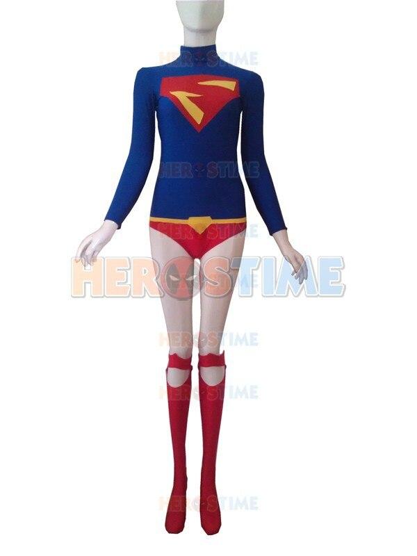 Supergirl Costume Halloween Cosplay Leopardo rojo y azul diseño - Disfraces - foto 3