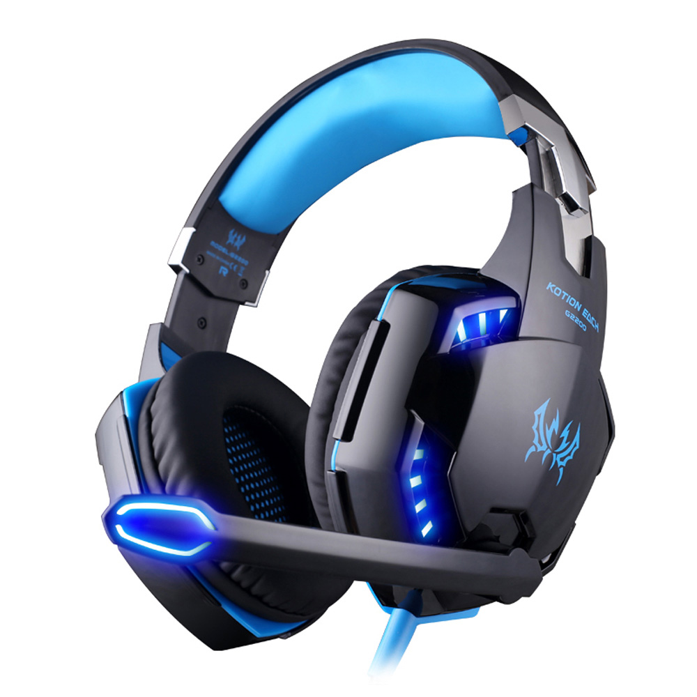 G2200 Gaming Headphone USB 7.1 Surround Stereo Headset Vibration System Rotatable Microphone Earphone Mic LED USB each g8200 gaming headphone 7 1 surround usb vibration game headset headband earphone with mic led light for fone pc gamer ps4