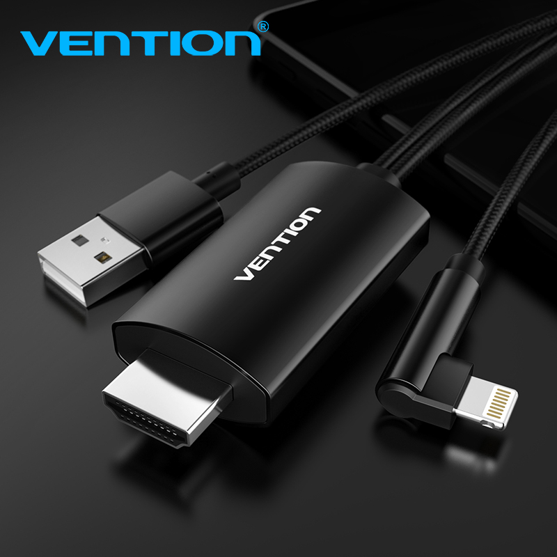 цена на Vention 8 Pin to HDMI Cable for iPhone 6 7 8 X iPad Smartphone iOS phone to HDMI Adapter 1080P USB to HDMI Converter for TV HDTV