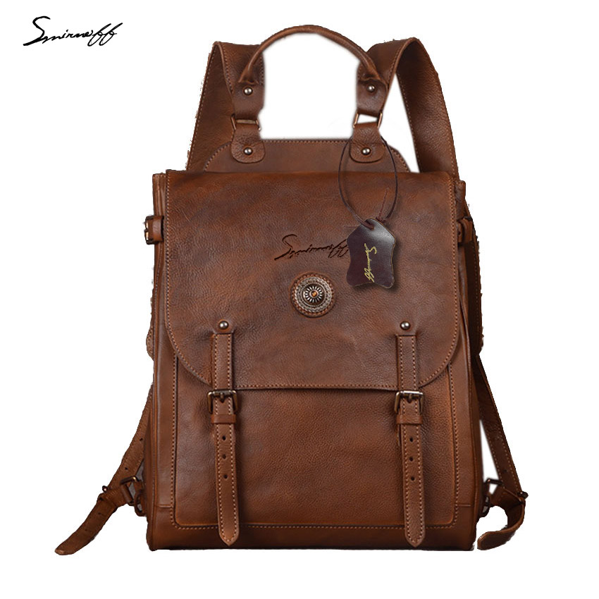 2017 New Italian Imports Hand Wiping Planted Tannage Cowhide Men Shoulder Bag Vegetable Tanned Leather Retro Men Backpack