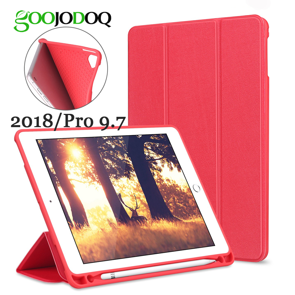 GOOJODOQ for iPad Pro 9.7 / iPad 2018 Case with Apple Pencil Holder, PU Silicone Soft Cover Smart Case for iPad Air 2 1 Funda