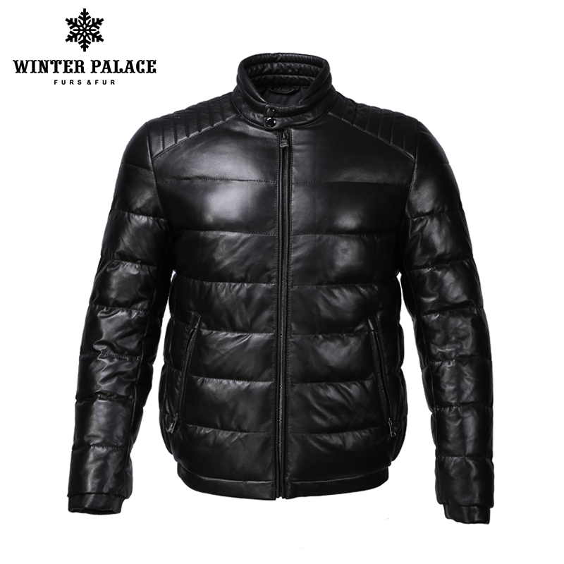 Young style leather jacket Mandarin Collar leather jacket men Internal Cotton jacket mens genuine leather Warm