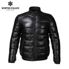 Молодой стиль кожаная куртка воротник-стойка кожаная куртка мужская внутренний хлопка куртка Мужская Натуральная кожа Теплые jaqueta de couro
