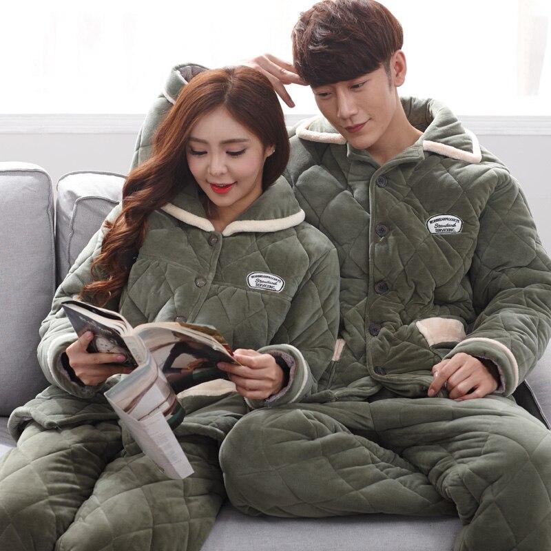 Thick flannel couple matching pajamas mens winter coral fleece turn-down collar sleepwear women warm sleep set armygreen colour