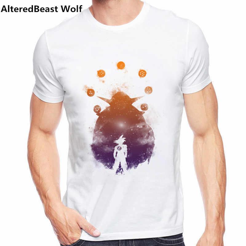 2017 Мужская футболка с коротким рукавом Сон Гоку Новая модная футболка с принтом супер сайян топы с круглым вырезом вместе они борются крутые футболки