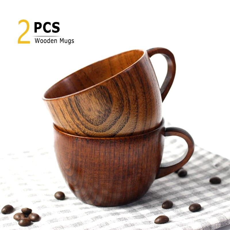 2Pcs Wooden Mug Set 200ML Tea Coffee Mug Japanese Style Wood Drinking Cups And Mug Kids Milk Mug Gift Drinkware Drop Shipping