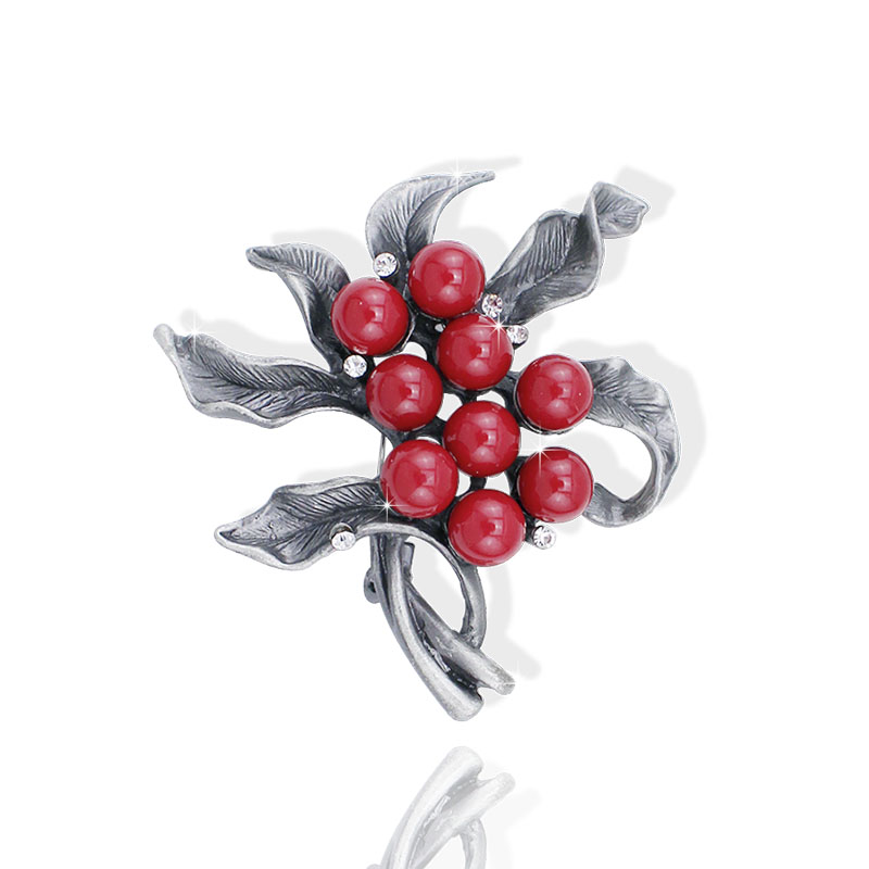 New Fashion Black Tone Handmade Beaded Tin Alloy Retro Style Jewelry Pins With Red Stone Trendy Pendant Brooch, Item NO.: BH8125