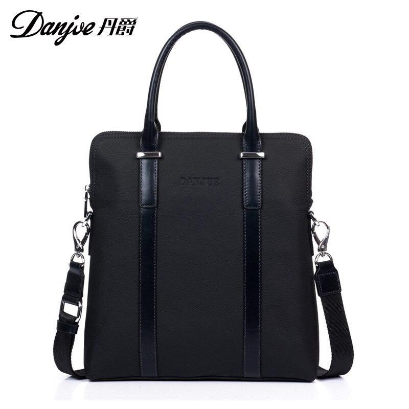 цена на DANJUE High Quality Computer Laptop Bag Totes Brand 2018 Men Business Briefcase Genuine Leather Handbag Shoulder Bag