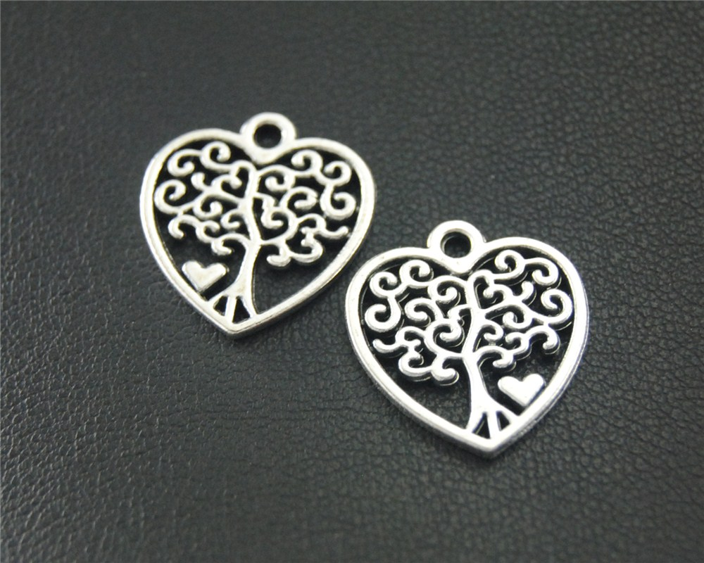 10pcs Antique Sliver Heart Love Tree Charm Jewelry Making DIY Handmade Craft 18x19mm A1841