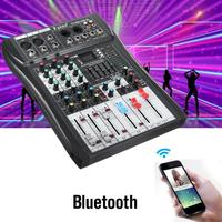 LEORY Professional Bluetooth Karaoke Audio Mixer Microphone Sound Mixing Amplifier Console Phantom Power With USB 48V 4 Channel