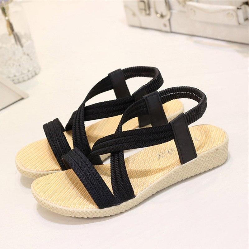 Frauen Flache Sandalen 2019 Mode Frauen Sommer Schuhe Aus Echtem Leder Sandalen Damen Schuhe Große Größe Jan14 Reine WeißE Frauen Schuhe