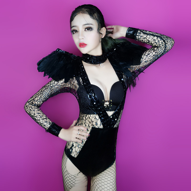 Nightclub Sexy Rhinestones DJ Clothing with Feather shoulder Female Black Lace Perspective Bodysuit Dance Show Bar Gogo Costumes