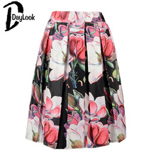 DayLook Summer Style Floral Print Vintage Pleated Skater Midi Skirt Fashion 2016 High Waist Ball Gown