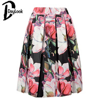 DayLook Floral Print Pleated Midi Skirt New Fashion 2015 High Waist Ball Gown Women Pleat Skirt