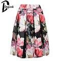 DayLook Verano Estampado de Flores de Estilo Vintage Plisado Skater Midi Falda de La Manera 2016 Cintura Alta vestido de Bola de Las Mujeres Falda Elegante Saia