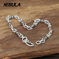 100% Genuine 925 Sterling Silver Vintage Punk Link Chain Bracelet Thai Silver Jewelry for Man or Women