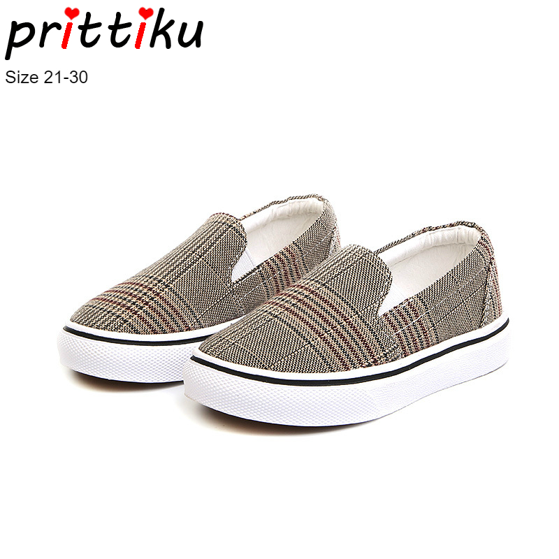 Autumn 2018 Baby Toddler Boy Girl Canvas Plaid Sneakers Little Kid Slip On Casual Plimsolls Children Classic Unisex Design Shoes
