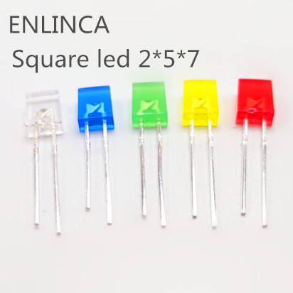 100pcs 2X5X7 Square LED 257 Red Light-emitting Diode White Yellow Red Green Blue Electronic Diy Kit