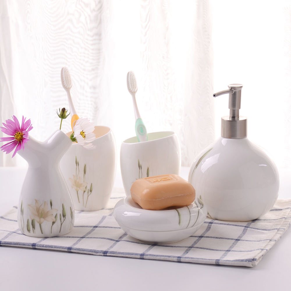 A1 Modern European style simple bathroom wash five piece set ceramic combination LO87155 simple bathroom ceramic wash four piece suit cosmetics supply brush cup set gift lo861050