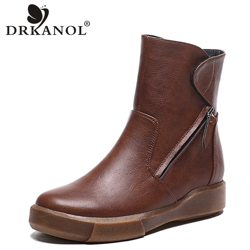 DRKANOL New Design Round Toe Women Ankle Boots 2019 Vintage PU Leather Short Plush Winter Warm Snow Boots Flats Martin Shoes