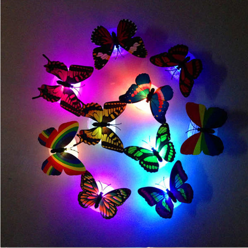 5pcs Colorful Changing Butterfly LED Night Light Lamp Home Room Wedding Party Desk Wall Decor With Suction Pad Children Gifts